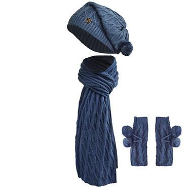 نمایش تصویر ست کلاه و شال گردن و ساق دست بافتنی سام استایل پاییزی خانم ها گل بچین