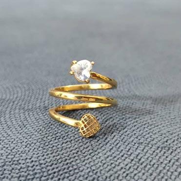 نمایش تصویر انگشتر طلا 18 عیار زنانه قیراط طرح قلب کادو ولنتاین گل بچین