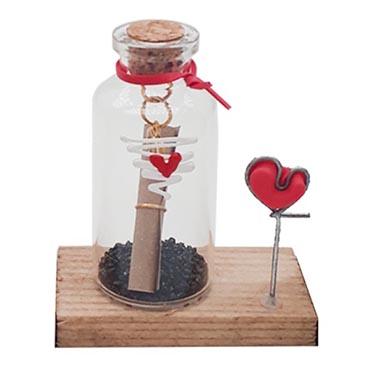 نمایش تصویر دکوری مدل بطری عشق طرح قلب خطی کد 004 کادو ولنتاین گل بچین