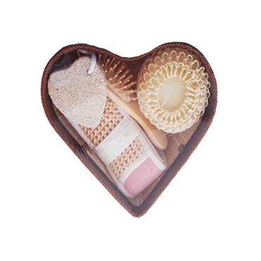 نمایش تصویر ست لیف حمام مدل طرح قلب 2021 کادو ولنتاین گل بچین