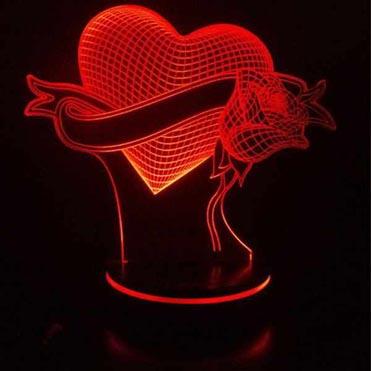 نمایش تصویر چراغ خواب سه بعدی پارسافن لیزر طرح عاشقانه قلب و گل 16 رنگ ریموت دار کادو ولنتاین گل بچین