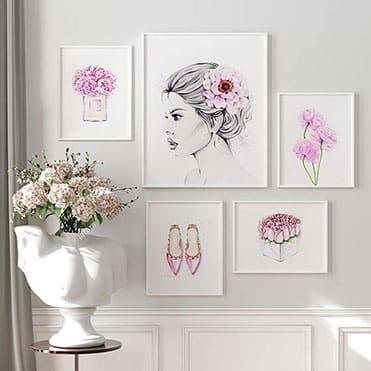 نمایش تصویر تابلو سالی وود طرح فانتزی های دخترانه کد T110214 مجموعه 5 عددی کادو تولد برای دختر گل بچین