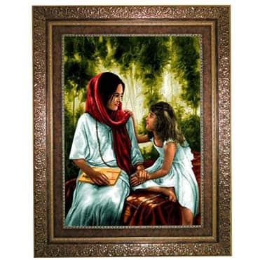 نمایش تصویر تابلو فرش ماشینی نقش نگار رضوی طرح مادر و دختر کد 1265KC-2 هدیه روز مادر گل بچین