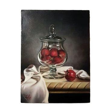 نمایش تصویر تابلو نقاشی رنگ روغن طرح سرخی انار هدیه شب یلدا برای آقایان گل بچین