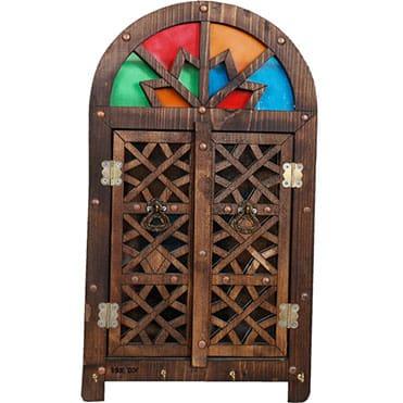 نمایش تصویر جاکلیدی چوبی طرح قاجاری کادو برای خانه جدید عروس و داماد گل بچین