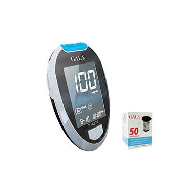نمایش تصویر دستگاه تست قند خون گالا مدل TD4277 به همراه یک بسته نوار 50 عددی ابزار سلامت گل بچین