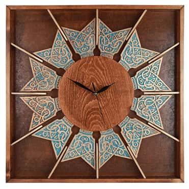 نمایش تصویر ساعت-دیواری-چوبی-طرح-خورشیدی کادو برای خانه جدید عروس و داماد گل بچین