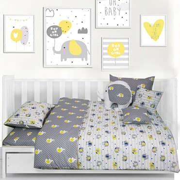 نمایش تصویر سرویس خواب 8 تکه کودک مدل Cute Elephant هدیه کودکان چهار تا شش ساله گل بچین