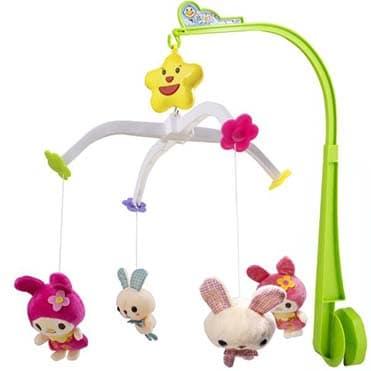 نمایش تصویر آویز تخت موزیکال کودک مدل Rabbit Sweet Cuddles کادو برای نوزاد پسر گل بچین