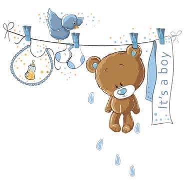 نمایش تصویر استیکر دیواری ژیوار طرح خرس کوچولوی آبی کادو برای نوزاد پسر گل بچین