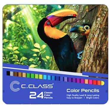 نمایش تصویر مدادرنگی 24 رنگ سی.کلاس کد 003 خرید لوازم التحریر ارزان گل بچین